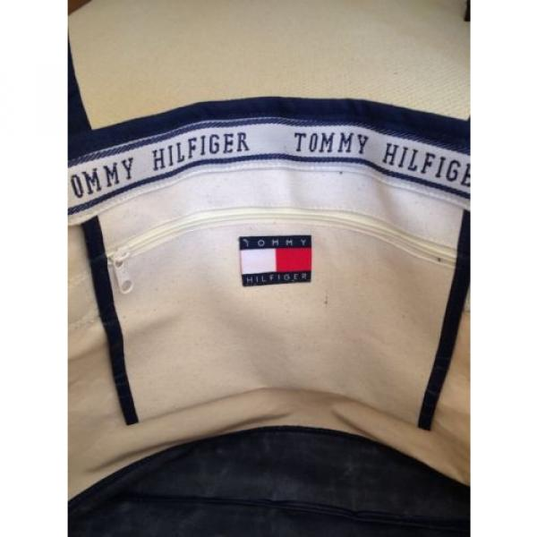 Tommy Hilfiger Tote Bag Urban Beach CANVAS TOTE - Cream Large w pocket- NWOT #3 image
