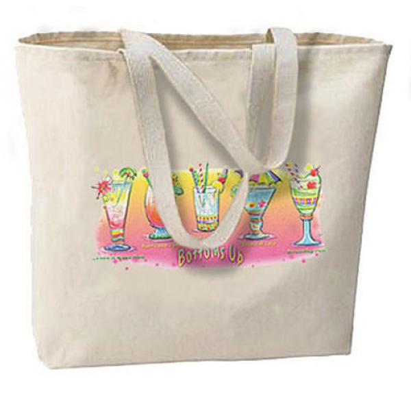 Bottoms Up New Jumbo Canvas Tote Bag Travel Beach Shop Gifts Tropical Cocktails #1 image