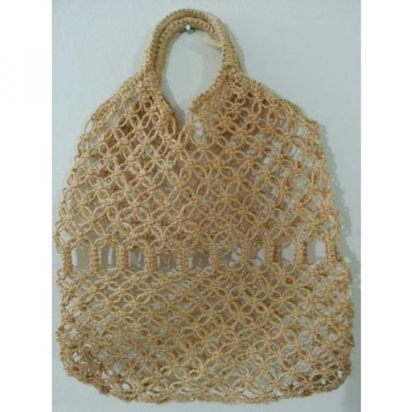Jute Crochet Hobo Shoulder Beach Bag Large Tan #1 image