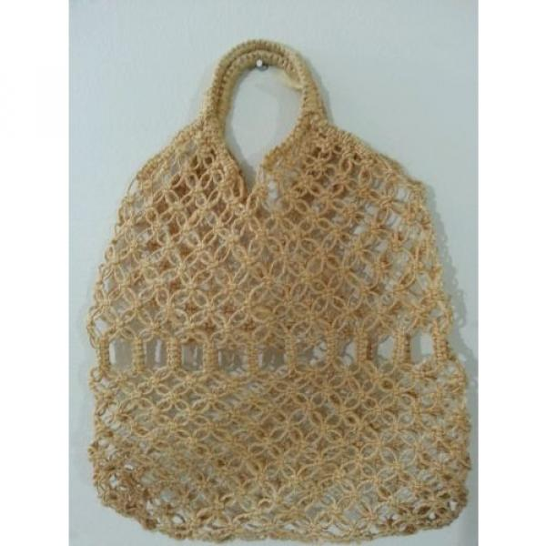Jute Crochet Hobo Shoulder Beach Bag Large Tan #2 image