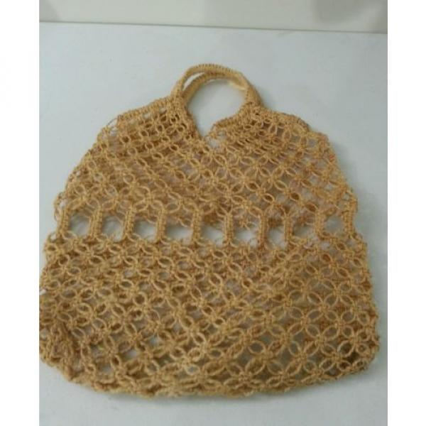 Jute Crochet Hobo Shoulder Beach Bag Large Tan #3 image