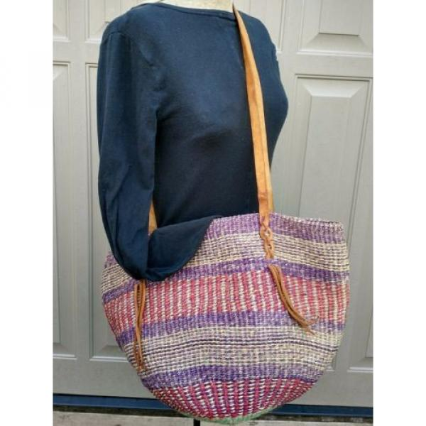 X Large Woven Straw  Bucket Market Beach Bag Purse Leather Straps #1 image