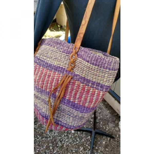 X Large Woven Straw  Bucket Market Beach Bag Purse Leather Straps #4 image