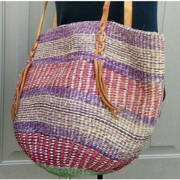 X Large Woven Straw  Bucket Market Beach Bag Purse Leather Straps #5 image