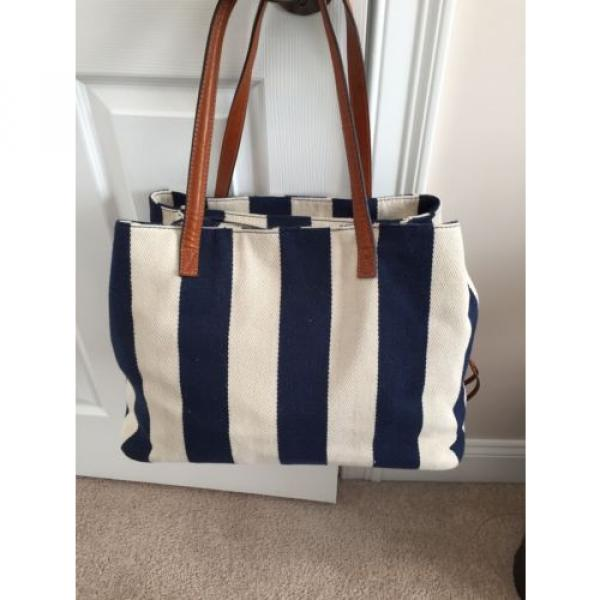 Gabriella Rocha Felicity Striped Navy Beach Bag NWOT #1 image