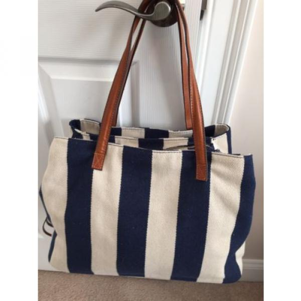 Gabriella Rocha Felicity Striped Navy Beach Bag NWOT #2 image