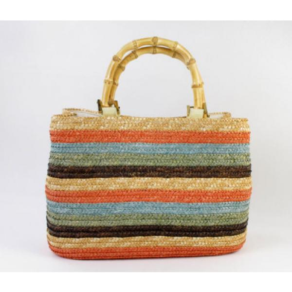 Straw Summer Beach Purse Bag Striped Charter Club Classics Bamboo Holiday #1 image