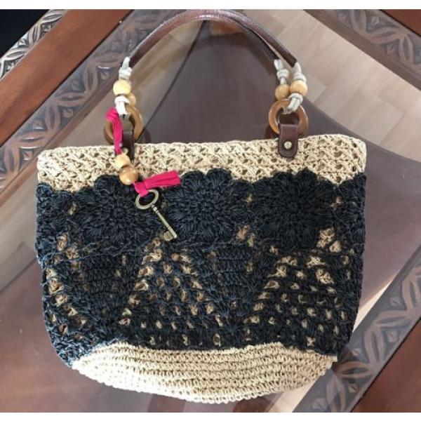 Fossil Straw Tote Black Tan Handbag Perfect Beach Bag #1 image
