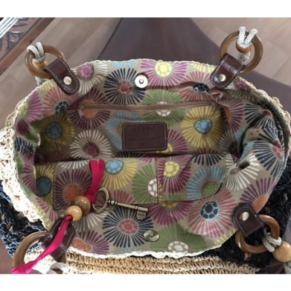 Fossil Straw Tote Black Tan Handbag Perfect Beach Bag #2 image