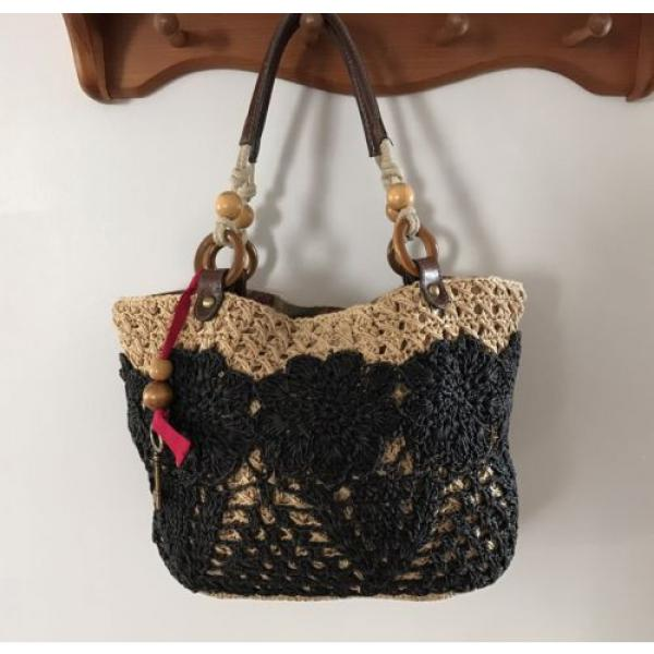 Fossil Straw Tote Black Tan Handbag Perfect Beach Bag #3 image