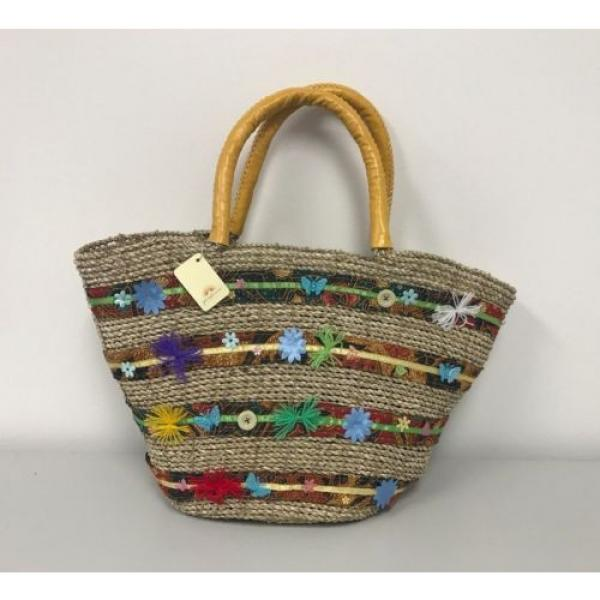 New Large Beach Wicker Straw and Leather Floral Decor Tote bag Handbag Purse #1 image