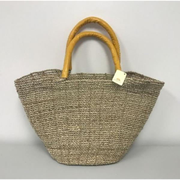 New Large Beach Wicker Straw and Leather Floral Decor Tote bag Handbag Purse #2 image