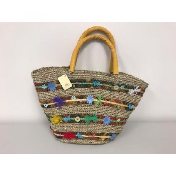 New Large Beach Wicker Straw and Leather Floral Decor Tote bag Handbag Purse #5 image