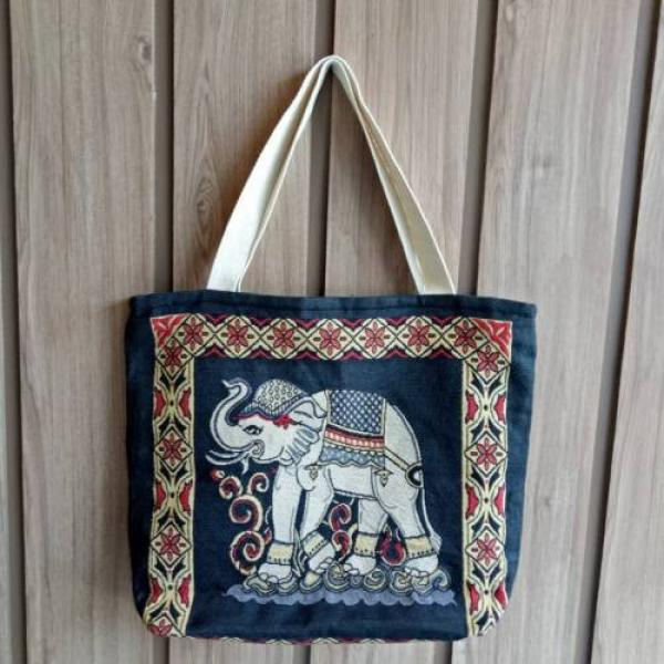 Hobo Tote Shoulder Fitness Beach Swim Gym Shopping Women Bag New Thai Elephan #2 image