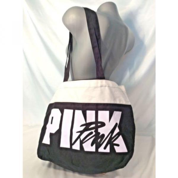VICTORIA'S SECRET PINK BEACH BAG TRAVEL TOTE SHOPPER BLACK WHITE NWT #1 image