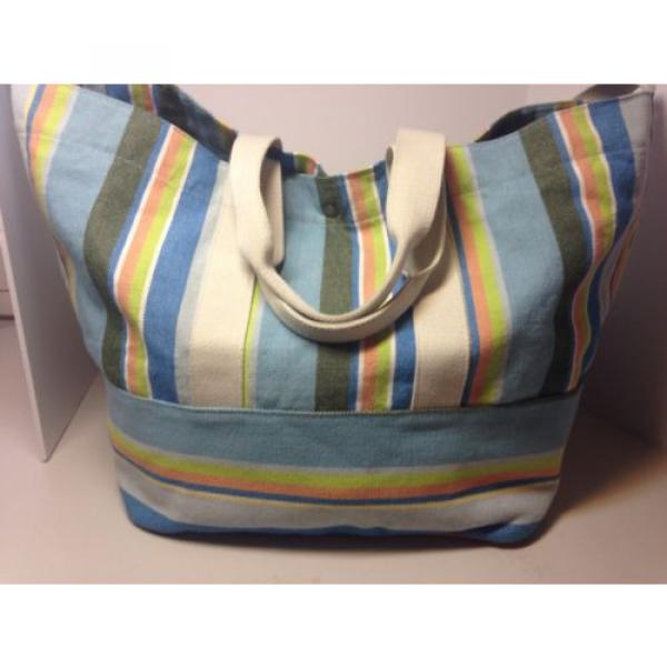 BEACH BAG/WEEKENDER~COLDWATER CREEK STRIPED~CANVAS TOTE, SATCHEL,SHOULDER BAG, #1 image