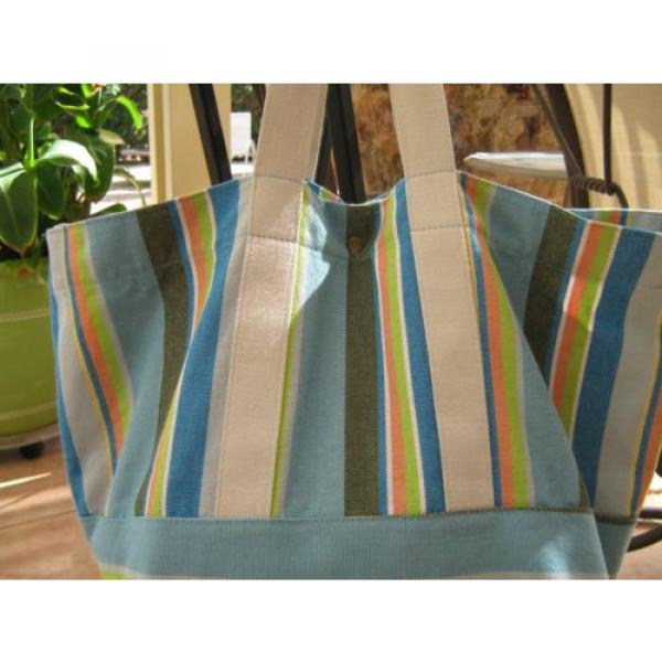 BEACH BAG/WEEKENDER~COLDWATER CREEK STRIPED~CANVAS TOTE, SATCHEL,SHOULDER BAG, #2 image