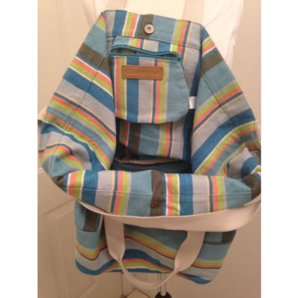 BEACH BAG/WEEKENDER~COLDWATER CREEK STRIPED~CANVAS TOTE, SATCHEL,SHOULDER BAG, #3 image