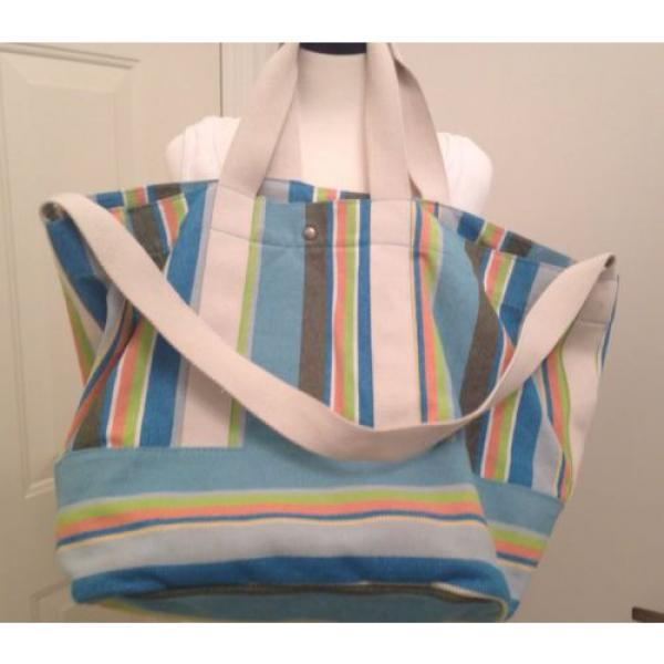 BEACH BAG/WEEKENDER~COLDWATER CREEK STRIPED~CANVAS TOTE, SATCHEL,SHOULDER BAG, #5 image