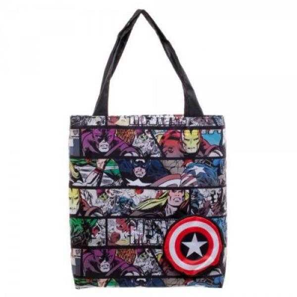 Marvel Comic Print Packable Handbag Tote Beach Bag Reusable Grocery Bag #1 image