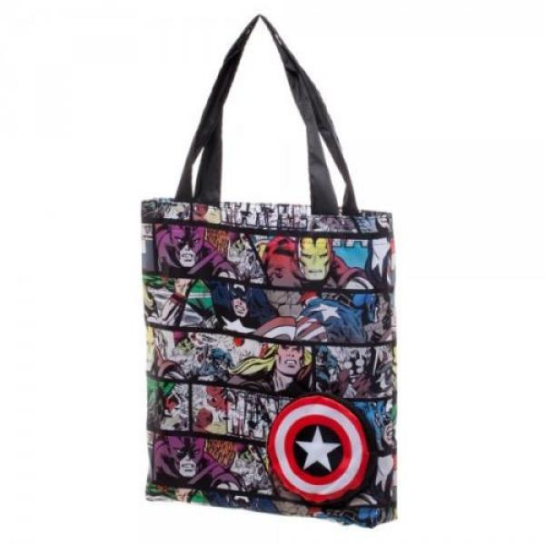 Marvel Comic Print Packable Handbag Tote Beach Bag Reusable Grocery Bag #2 image