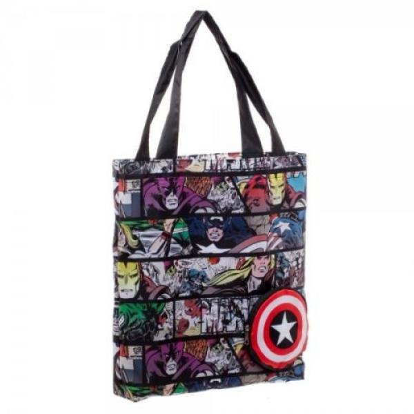 Marvel Comic Print Packable Handbag Tote Beach Bag Reusable Grocery Bag #3 image