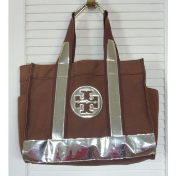Authentic TORY BURCH Women canvas Beach Tote bag Brown & Metallic Medium size #1 image