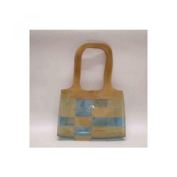 Auth CHANEL Patchwork Vinyl Beach Bag Shoulder Bag Beige/Blue 065019 #1 image