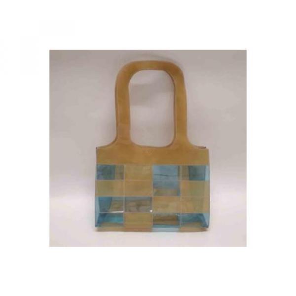 Auth CHANEL Patchwork Vinyl Beach Bag Shoulder Bag Beige/Blue 065019 #2 image