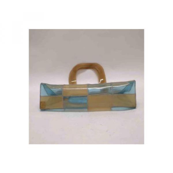 Auth CHANEL Patchwork Vinyl Beach Bag Shoulder Bag Beige/Blue 065019 #4 image