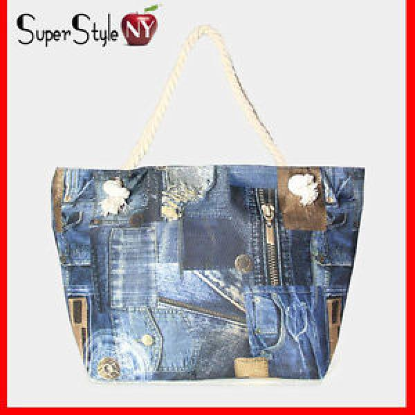 Navy Blue Patch Denim Print Jean Bag Tote Fashion Design Canvsas Beachbag #1 image