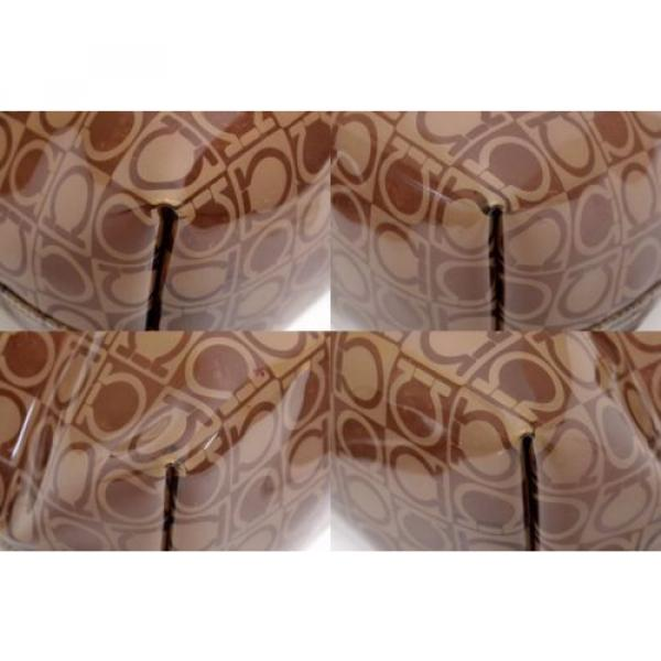 Authentic Salvatore Ferragamo Gancini Logo Vinyl Beach Shoulder Bag Purse Brown #4 image