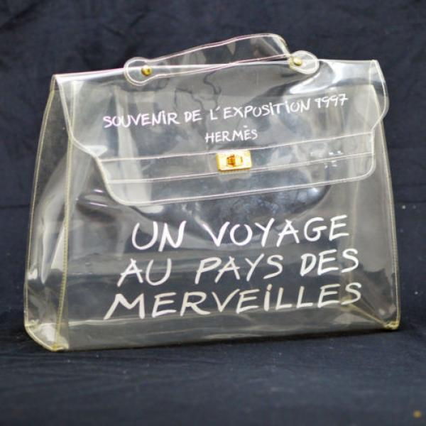 Authentic HERMES KELLY VINYL Beach Hand Bag SOUVENIR DE L'EXPOSITION 1997 V11310 #1 image