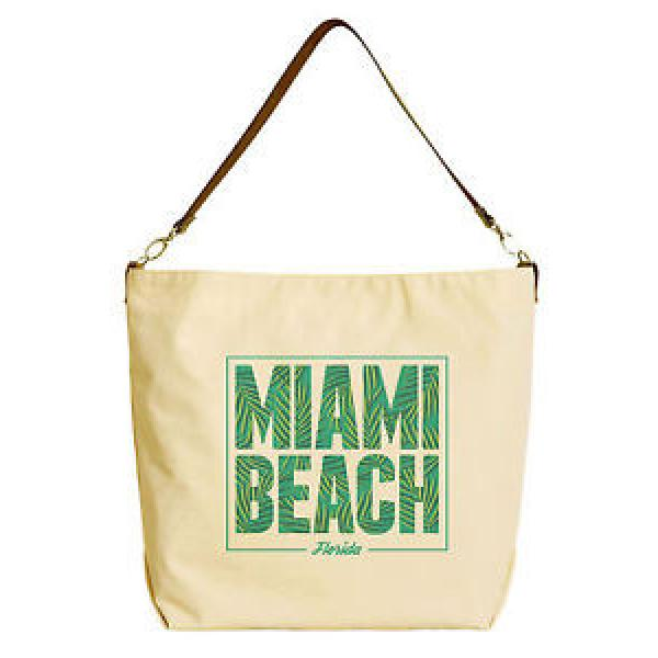 Miami Beach Beige Printed Canvas Tote Bag with Leather Strap WAS_29 #1 image