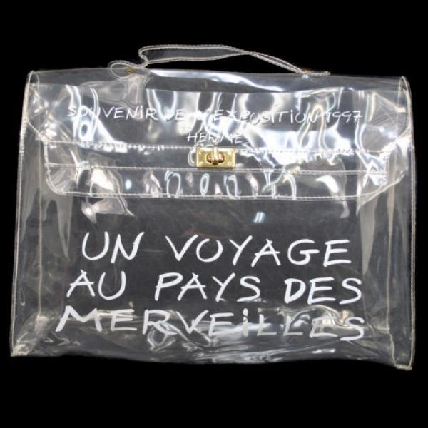 Authentic HERMES Kelly Beach Hand Bag SOUVENIR DE L'EXPOSITION Vinyl 1997 B28356 #2 image