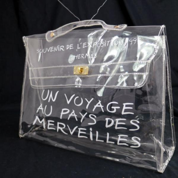 Authentic HERMES Vinyl Kelly Hand Beach Bag SOUVENIR DE L'EXPOSITION 1997 V09648 #1 image