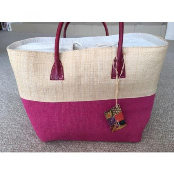 LARGE JUTE FUCHSIA HOT PINK TOTE PURSE BEACH GROCERY BAG NWT #1 image