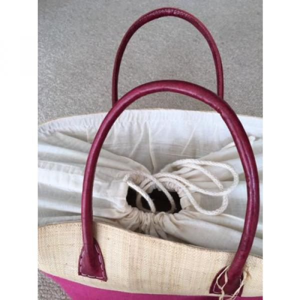 LARGE JUTE FUCHSIA HOT PINK TOTE PURSE BEACH GROCERY BAG NWT #2 image
