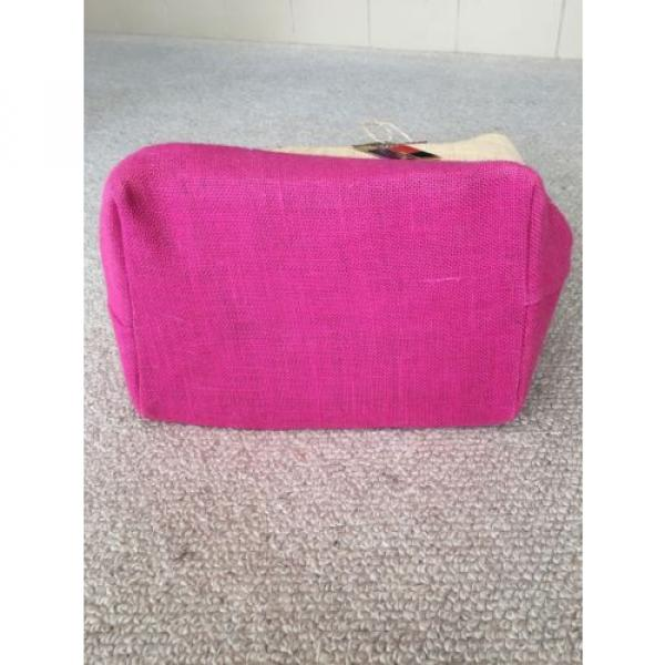 LARGE JUTE FUCHSIA HOT PINK TOTE PURSE BEACH GROCERY BAG NWT #3 image
