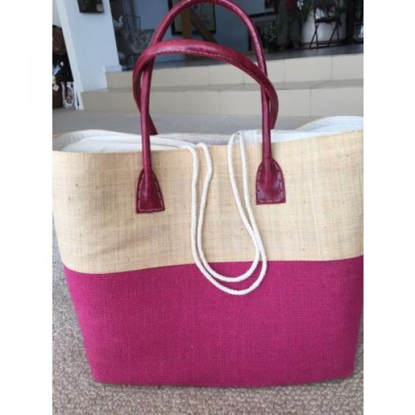 LARGE JUTE FUCHSIA HOT PINK TOTE PURSE BEACH GROCERY BAG NWT #4 image