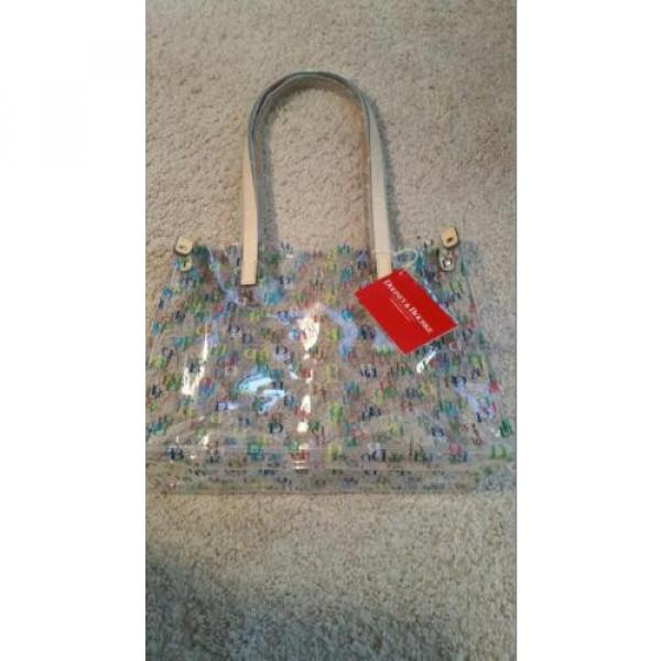 Dooney & Bourke Clear Medium IT Collection all over DB Logo Tote beach bag NWT #4 image