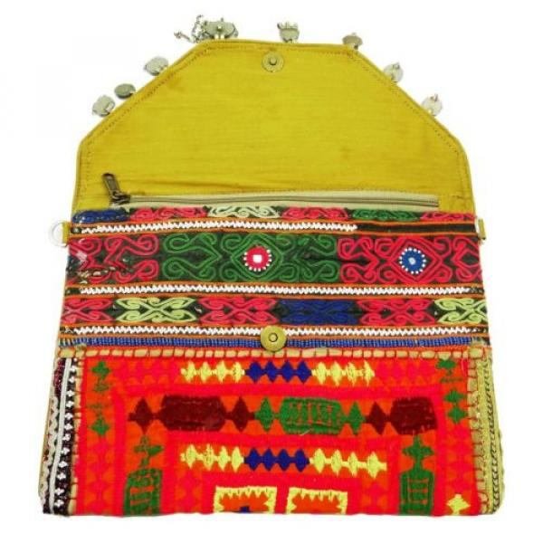 VINTAGE BAG INDIAN EMBROIDERED HANDBAG WEDDING CLUTCH MULTICOLOR BEACH PURSE #4 image