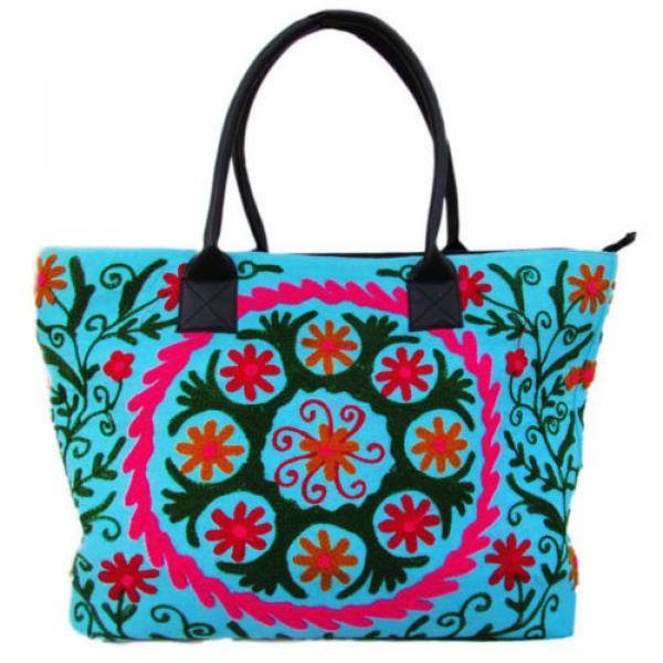 Indian Cotton Suzani Embroidery Handbag Woman Tote Shoulder Bag Beach Boho Bag u #1 image