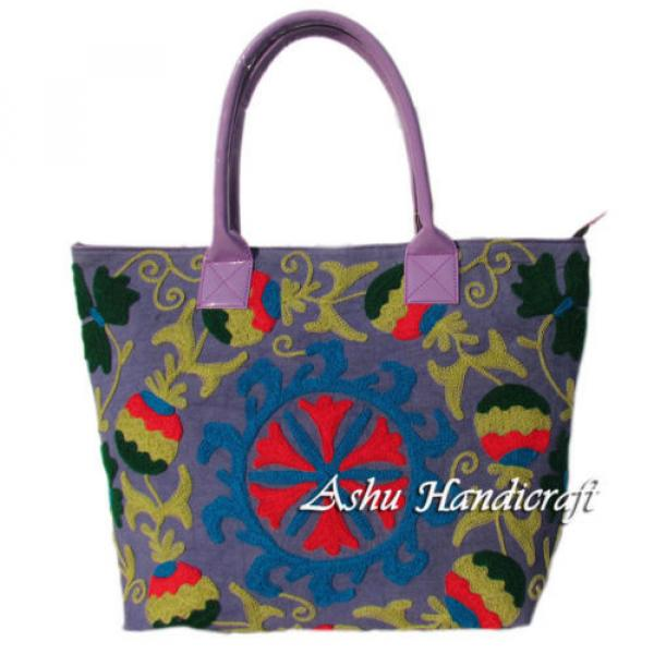 Indian Cotton Embroidery Suzani Handbag Woman Tote Shoulder Bag Beach Boho Bag v #1 image