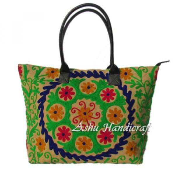 Indian Cotton Tote Suzani Embroidery Handbag Woman Shoulder & Beach Boho Bag s13 #1 image