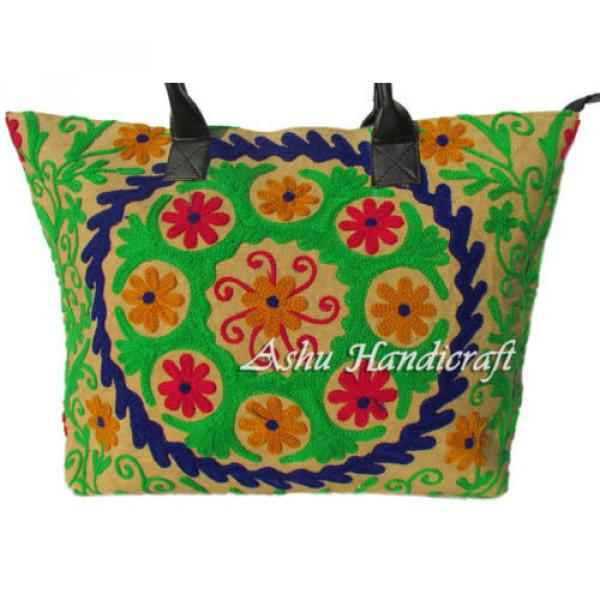 Indian Cotton Tote Suzani Embroidery Handbag Woman Shoulder & Beach Boho Bag s13 #2 image