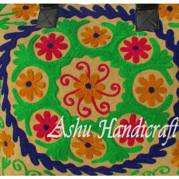 Indian Cotton Tote Suzani Embroidery Handbag Woman Shoulder & Beach Boho Bag s13 #3 image