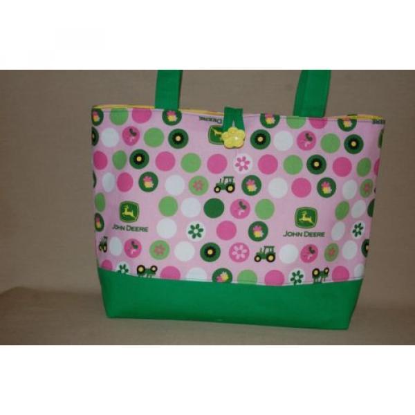 Handmade Pink John Deere Trimmed in Green Handbag Purse Tote Bag Beach Bag #1 image