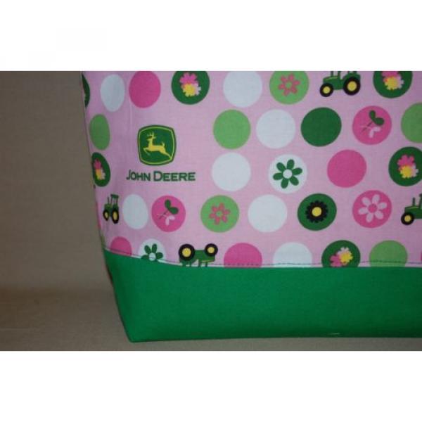 Handmade Pink John Deere Trimmed in Green Handbag Purse Tote Bag Beach Bag #2 image