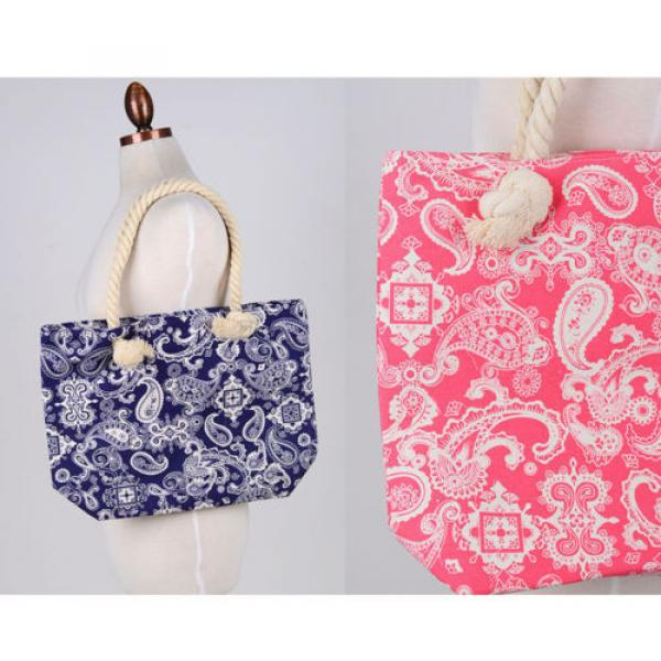Women Beach Bum Handbag Over Shoulder Paisley CANVAS Large Day Tote Shopping Bag #1 image